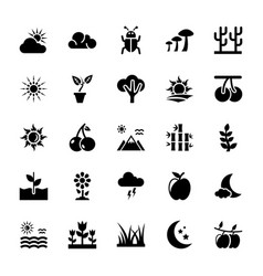 Nature glyph icons pack vector