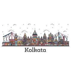 outline kolkata india city skyline with color vector image