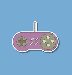 Paper sticker on background of game joystick vector