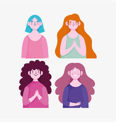 portrait cartoon women character young icons vector image