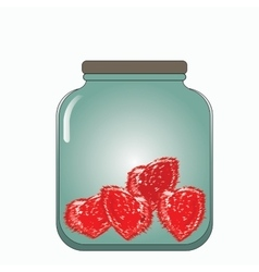 Prickly hearts stored in a glass jar vector
