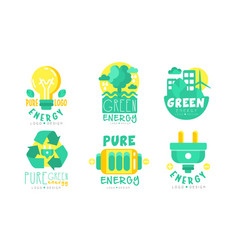pure energy green logo design templates collection vector image
