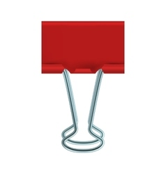 Red binder clip icon realistic style vector