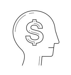 rich brain in the head line icon vector image