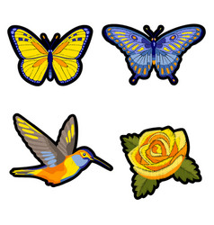 Rose hummingbird and butterflies embroidery patch vector
