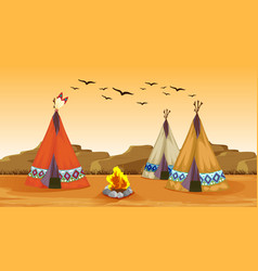 Scene with campfire and tents in desert vector