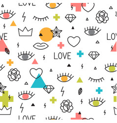 seamless pattern with hand drawn geometric vector image vector image
