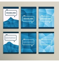 Set abstract paintings on blue background vector image vector image