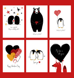 Set of love cards with animals vector