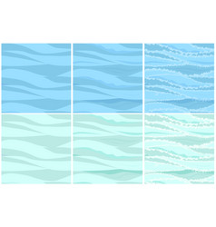 Set seamless water patterns in 3 steps vector