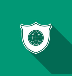shield with world globe icon isolated with long vector image