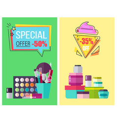 Special offer for skincare means and makeup tools vector