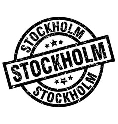 Stockholm black round grunge stamp vector