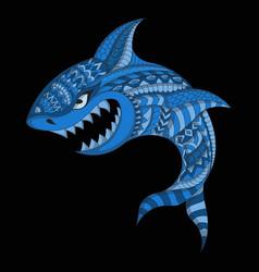 Stylized shark in ethnic vector