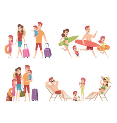 Summer characters family couple travellers with vector