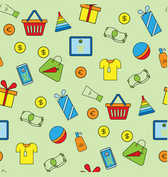 supermarket shopping icons set seamless pattern vector image