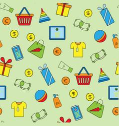 supermarket shopping icons set seamless pattern vector image