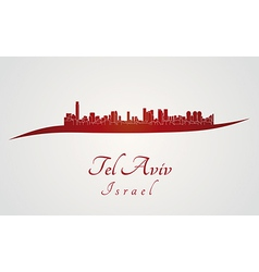 Tel Aviv skyline in red vector image