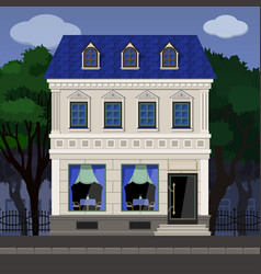 The facade of the cafe in an old classical vector