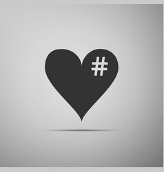 the hash love icon hashtag heart symbol icon vector image