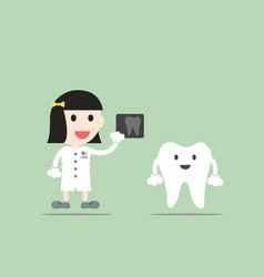 Tooth cartoon female dentist hold dental x-ray vector