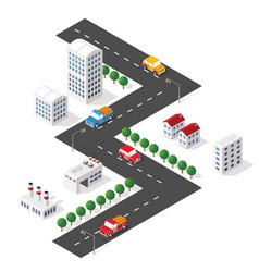 Transport car urban and asphalt traffic vector