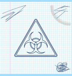 triangle sign with biohazard symbol line sketch vector image
