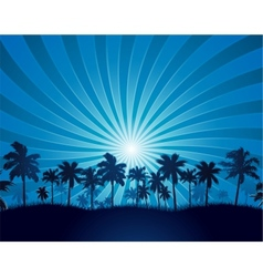 Tropical background with palm tree silhouette vector image