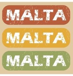 Vintage Malta stamp set vector