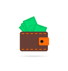 Wallet with money icon with shadow vector
