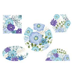 watercolor floral background set vector image