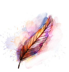 Watercolor grunge feather vector