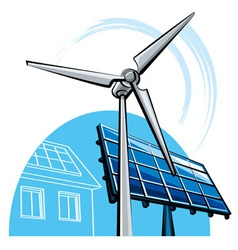 Windmill and solar panel vector