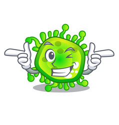 Wink cartoon microba virus bacteria in body vector