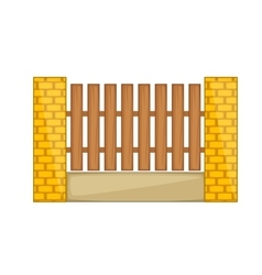 Wooden fence with brick pillars icon cartoon style vector