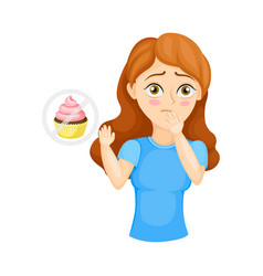 Young woman experiencing loss appetite vector