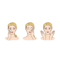 Young woman remove make-up from face vector