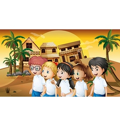 A group of students strolling at the desert with vector image vector image
