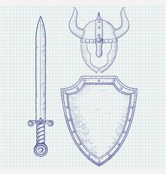 medieval warrior equipment sword shield horned vector image