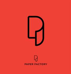 p logo paper factory emblem vector image vector image