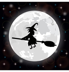 Witch on a background of the full moon vector
