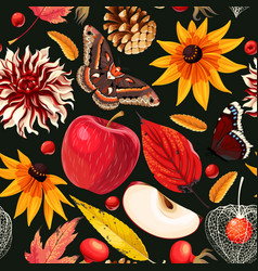 autumn pattern with leaves and flowers vector image
