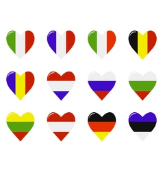European flags in a heart shape vector