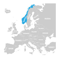 norway marked by blue in grey political map of vector image vector image