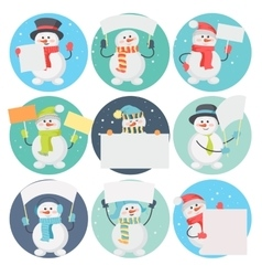 Set of Snowman Cartoons with Blank Message Board vector image vector image