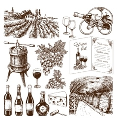 Traditional vinery production hand drawn vector image vector image