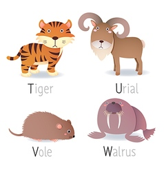 Alphabet with animals from T to W Set 2 vector image vector image