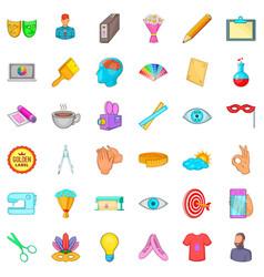 art workshop icons set cartoon style vector image vector image