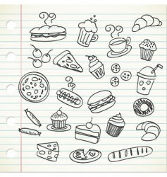 food doodle vector image vector image