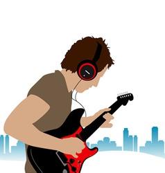 guitar man vector image vector image